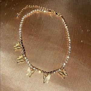 Gold butterfly rhinestone choker